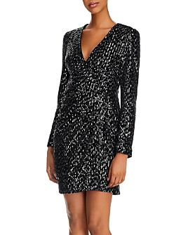O.P.T - Luna Velvet Sequin Wrap Dress