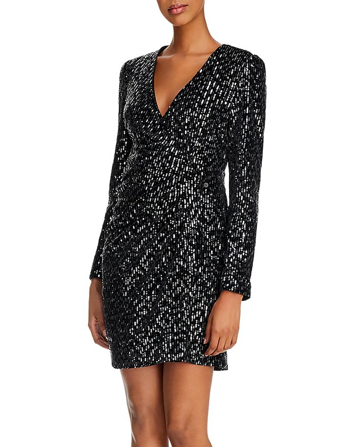 O.P.T - Luna Velvet Sequin Wrap Dress