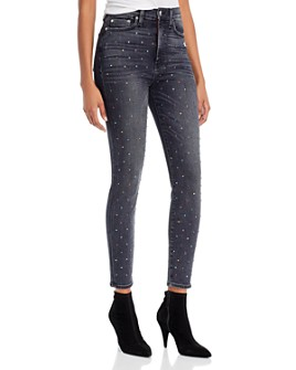 Alice and Olivia - Good High-Rise Embellished Ankle Skinny Jeans in Black Magic