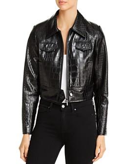 Elie Tahari - Jagger Croc-Embossed Faux-Leather Jacket