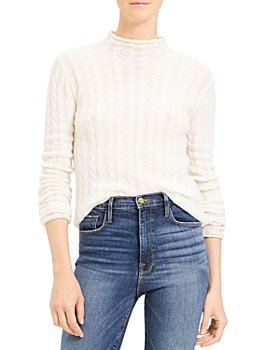 Theory - Cable-Knit Mock Neck Cashmere Sweater