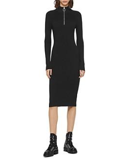 ALLSAINTS - Lacey Half-Zip Rib-Knit Dress