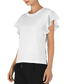 ATM Anthony Thomas Melillo - Mixed-Media Flutter-Sleeve Top