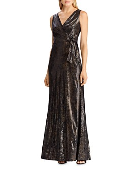 Ralph Lauren - Sequined Faux-Wrap Gown