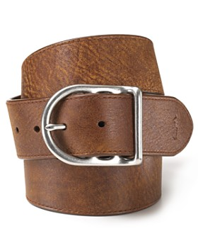 Polo Ralph Lauren - Distressed Leather Belt with Dull Nickle Centerbar Buckle