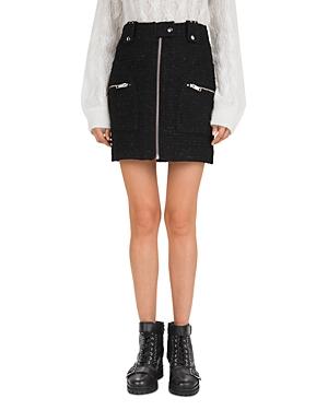 The Kooples New Bliss Zip-Detail Tweed Skirt