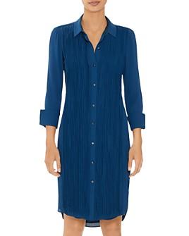 HALSTON - Long Sleeve Pleated Shirt Dress