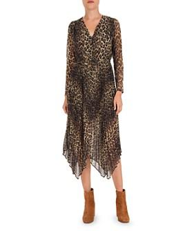 The Kooples - Pleated Leopard-Print Midi Dress