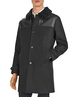The Kooples - Feltro Leather-Trimmed Coat