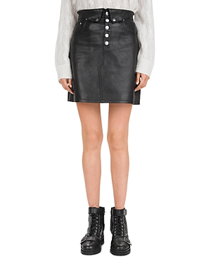 The Kooples Button-Fly Leather Mini Skirt