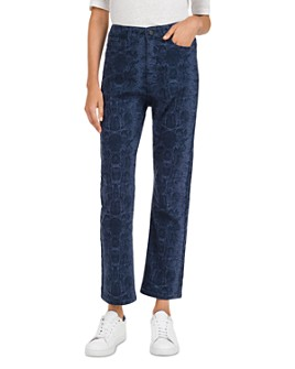Gerard Darel - Lara High-Rise Snakeskin-Print Straight-Leg Jeans in Blue