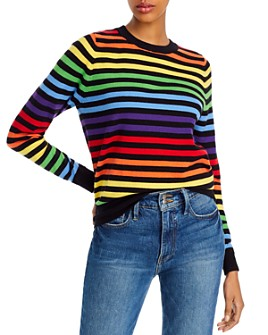 AQUA - Rainbow-Stripe Sweater - 100% Exclusive