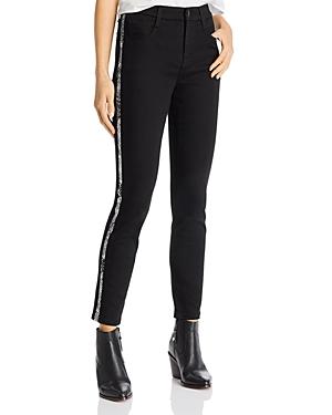 Jen7 by 7 For All Mankind Side Stripe Cropped Bootcut Jeans in Black
