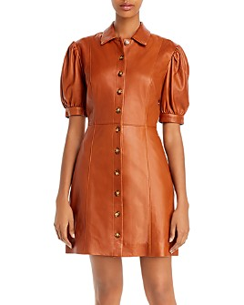 Joie - Fidal Puff-Sleeve Leather Shirtdress