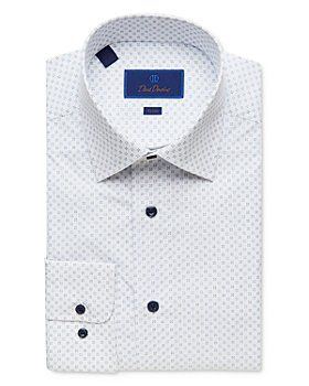 David Donahue - Neat Print Trim Fit Dress Shirt