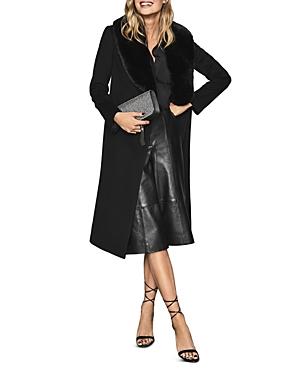 Reiss Coats DAWSON FAUX FUR COLLAR LONG COAT