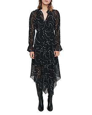 Maje Retro Star-Print Midi Dress