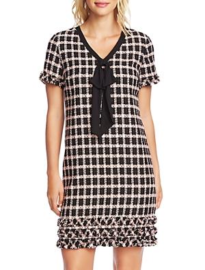CeCe Grid Tweed Tie-Neck Dress-Women