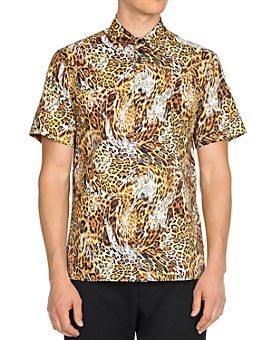 Just Cavalli - Leo Leopard-Print Short-Sleeve Slim Fit Button-Down Shirt