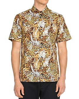 Just Cavalli - Leo Leopard-Print Short-Sleeve Slim Fit Button-Down Shirt