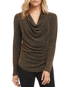 Karen Kane - Sparkle Knit Cowl-Neck Top