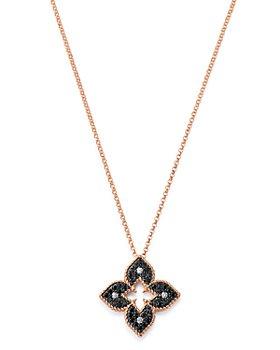 "Roberto Coin - 18K Rose Gold Petite Venetian Black & White Diamond Pendant Necklace, 18"""