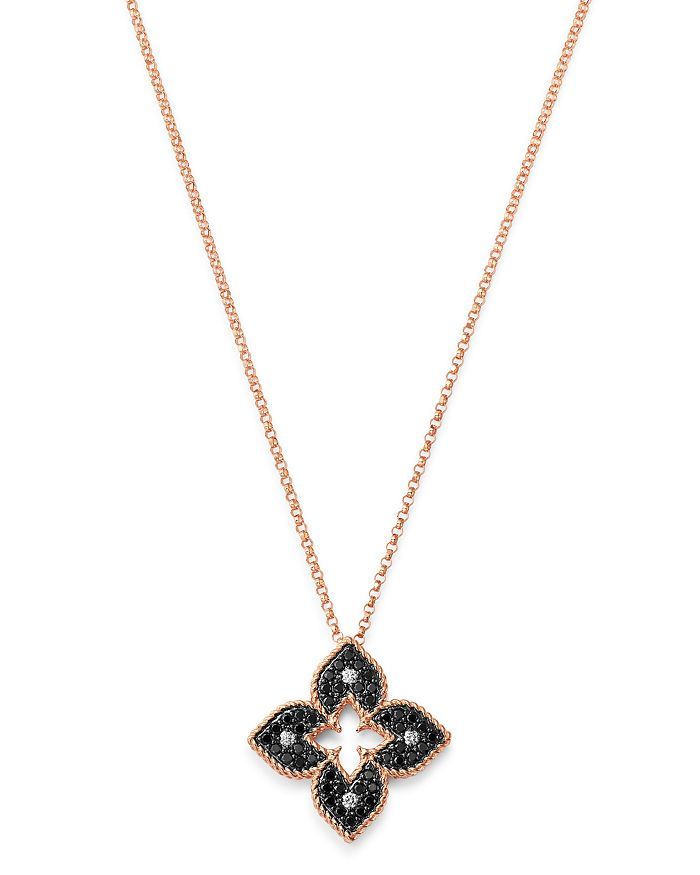 Roberto Coin - 18K Rose Gold Petite Venetian Black & White Diamond Pendant Necklace, 18""