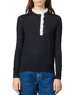 Sandro - Colane Broderie Anglaise-Detail Sweater