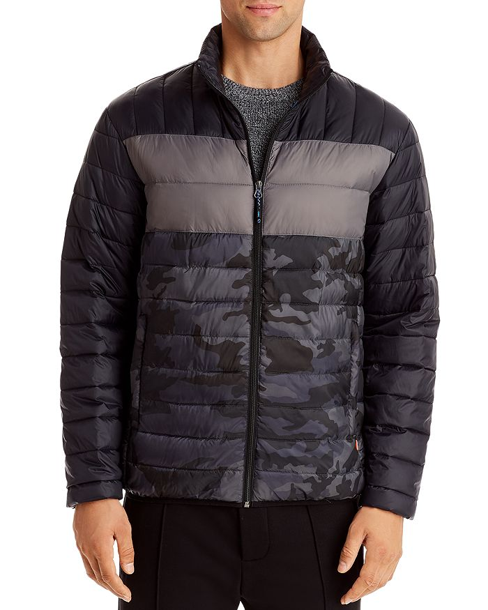 Hawke & Co. Color-block Packable Puffer Jacket In Black/camo/gray