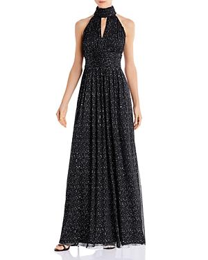 Eliza J Glitter Halter Gown
