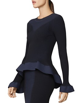 Hervé Léger - Two-Tone Peplum-Effect Top