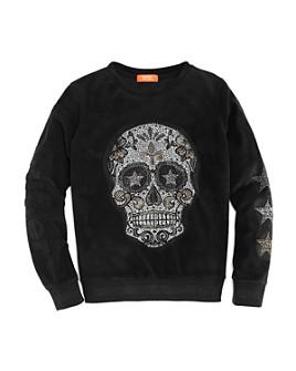 Butter - Girls' Velour Skull Sweatshirt - Big Kid