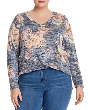 Cupio Plus Heathered Floral Print Long-Sleeve Top