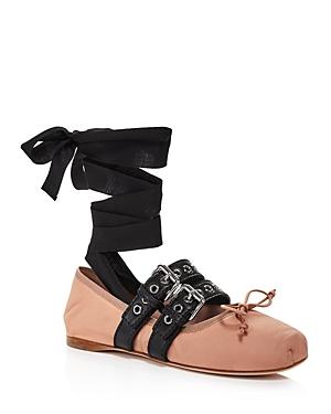 Miu Miu Women\\\'s Buckle Ballet Flats