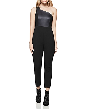 Bcbgeneration Suits MIXED MEDIA ONE-SHOULDER JUMPSUIT