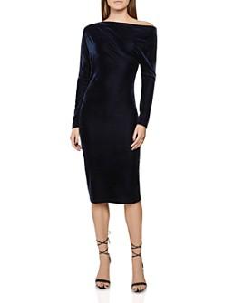 REISS - Valeria Off-the-Shoulder Velvet Dress