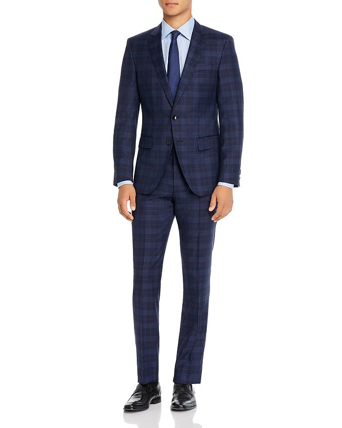 BOSS - Huge/Genius Plaid Slim Fit Suit Separates