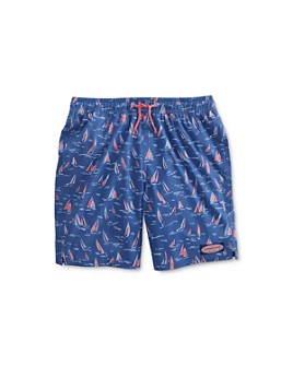 Vineyard Vines - Boys' Sailboat Print Chappy Swim Trunks - Little Kid, Big Kid