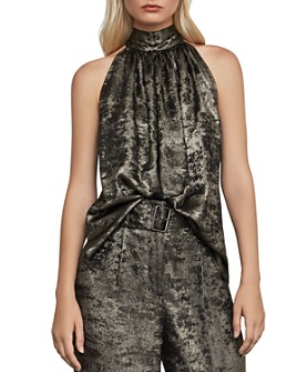 BCBGMAXAZRIA - Tie-Back Metallic Top