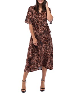B Collection by Bobeau - Orna Leopard-Print Wrap Dress