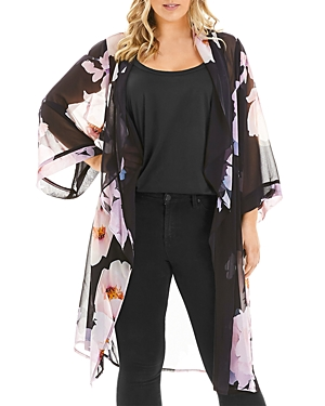 Estelle Plus Float Away Floral-Print Kimono