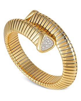 Marina B - 18K Yellow Gold Trisola Diamond Bangle Bracelet