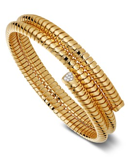 Marina B - 18K Yellow Gold Trisolina Diamond Triple-Wrap Bangle Bracelet