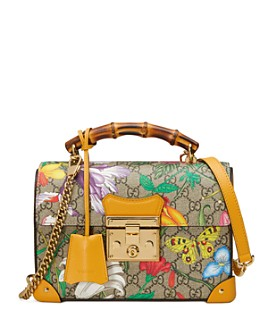 Gucci - Padlock GG Flora Small Bamboo Shoulder Bag