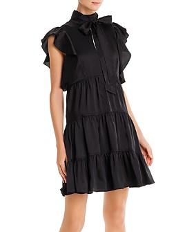 Cinq à Sept - Rebecca Ruffled Tie-Neck Mini Dress