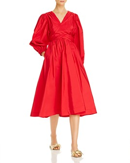 MSGM - Abito Crisscross A-Line Midi Dress