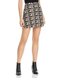 AQUA - Metallic Houndstooth Mini Skirt - 100% Exclusive