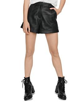 Maje - Ilord Leather Mini Shorts