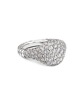 David Yurman - 18K Yellow Gold or 18K White Gold Mini Chevron Pinky Ring with Pavé Diamonds