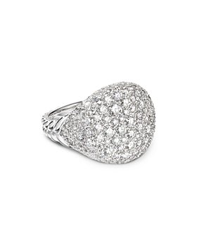 David Yurman - 18K White Gold Chevron Pinky Ring with Pavé Diamonds